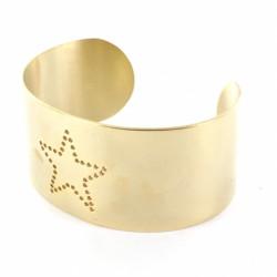 Bracelet manchette acier doré