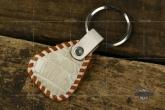 Van Amburg Leathers 梵·安贝格  白色短吻鳄皮质手工钥匙挂扣  棕色包边