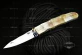 Koji Hara 原幸治 MEDAKE GOLD LIPE PEARL 金丝嵌入式金色珍珠贝竹节手柄镜面折刃