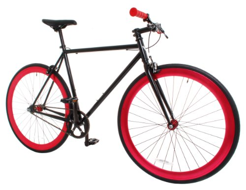 Vilano Rampage Fixed Gear Fixie Single Speed Road Bike, Black/Red, Large/58cm