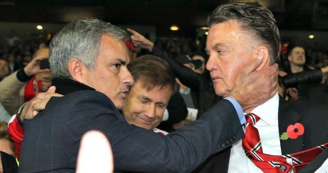 Jose Mourinho (left) is expected to take control of Manchester United while Louis van Gaal (right) is set to depart this week.