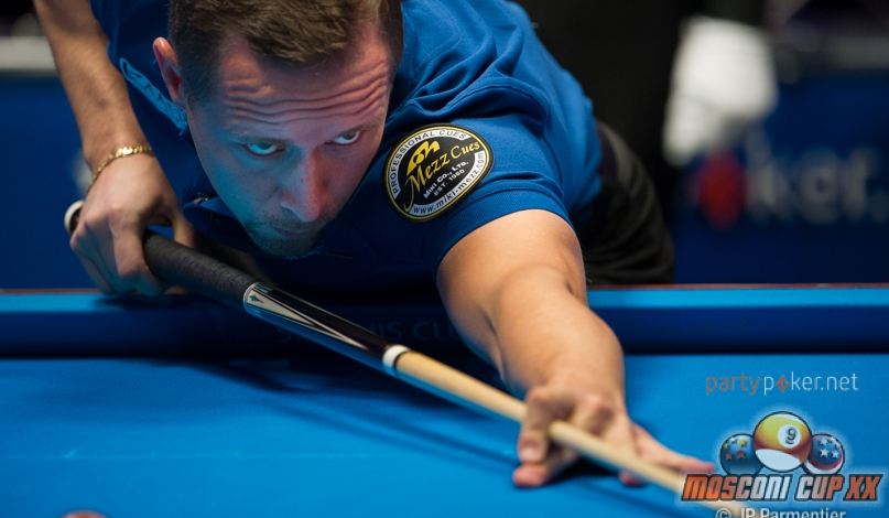 Mika Immonen takes a shot at the 2013 Mosconi Cup. Photo: Matchroom Pool