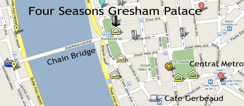 Location of Four Seasons Gresham Palace Budapest Hungary on Budapest Tourist Map