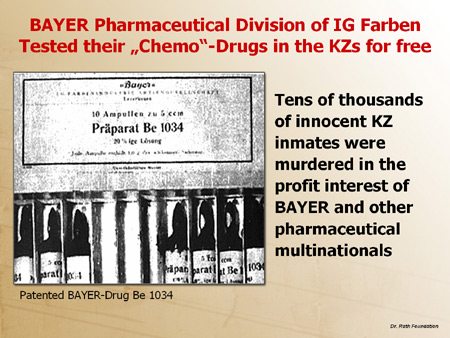 "Bayer Pharmaceutical Division of IG Farben Tested their ""Chemo""-Drugs in the KZ's for Free"