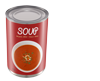 Tin of soup with UK map in the background