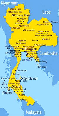 Vacations Thailand map
