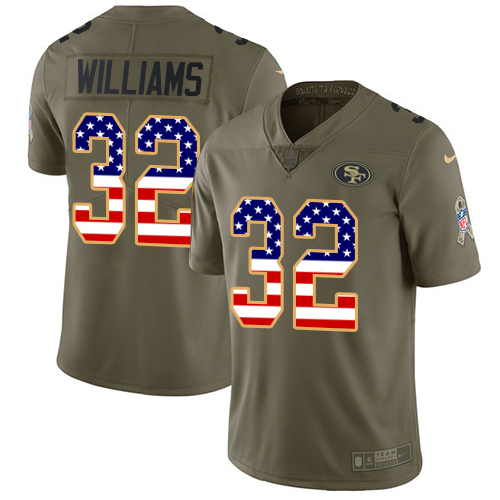 Youth Joe Williams Olive/USA Flag Limited NFL Jersey: San Francisco 49ers #32 2017 Salute to Service Nike Jersey