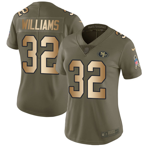 Women's Joe Williams Olive/Gold Limited NFL Jersey: San Francisco 49ers #32 2017 Salute to Service Nike Jersey