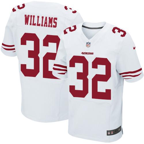 Men's Joe Williams White Road Elite NFL Jersey: San Francisco 49ers #32 Vapor Untouchable Nike Jersey