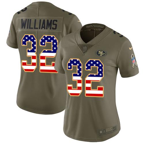 Women's Joe Williams Olive/USA Flag Limited NFL Jersey: San Francisco 49ers #32 2017 Salute to Service Nike Jersey