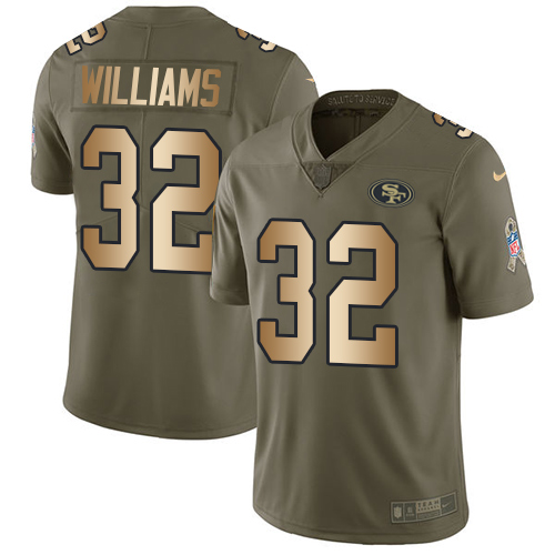 Men's Joe Williams Olive/Gold Limited NFL Jersey: San Francisco 49ers #32 2017 Salute to Service Nike Jersey