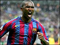 Barcelona's Samuel Eto'o turns away in triumph after his equaliser