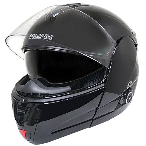 Hawk H-66 Glossy Black Dual-Visor Modular Motorcycle Helmet with Bluetooth - Large