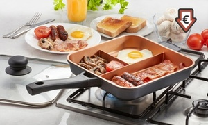 Cooks Professional Three-Section Copper Ceramic Frying Pan with Optional Lid and Induction Base