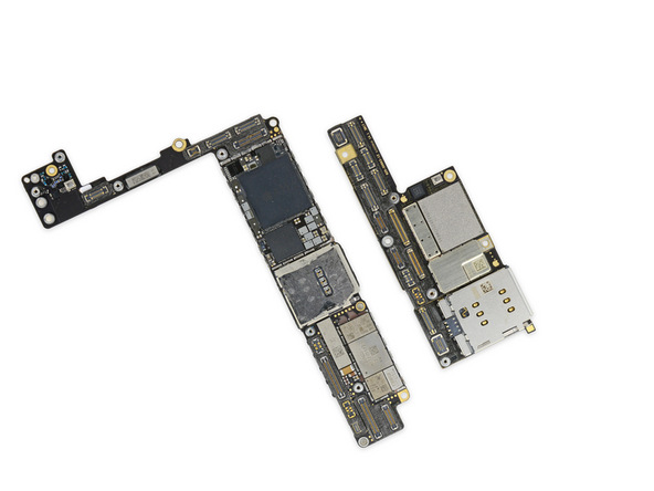 This miniaturized logic board is incredibly space efficient. The density of connectors and components is unprecedented. Ounce for ounce, even an Apple Watch has more bare board.