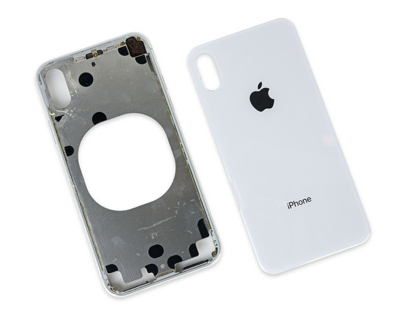 After all of our careful Jimmying, we're still stuck: Unlike the iPhone 8's single piece rear panel, the camera bump overlaps the rear glass, and is meticulously welded to the metal frame beneath.