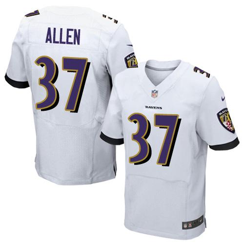 Men's Javorius Allen White Road Elite Football Jersey: Baltimore Ravens #37  Jersey