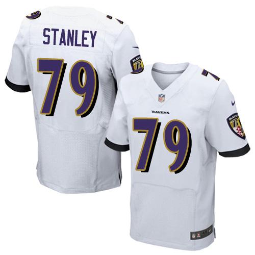 Men's Ronnie Stanley White Road Elite Football Jersey: Baltimore Ravens #79  Jersey
