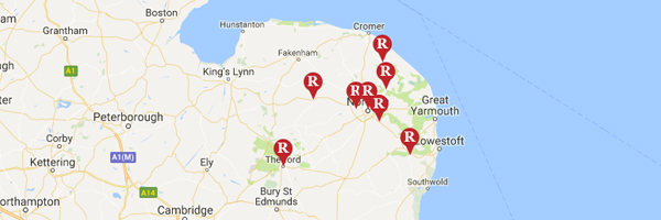 Map of Roys Stores in Norfolk and Suffolk