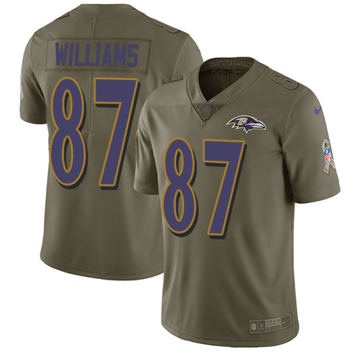 Men's Maxx Williams Olive Limited Football Jersey: Baltimore Ravens #87 2017 Salute to Service  Jersey