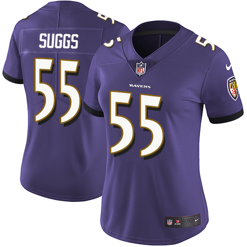 Women's Terrell Suggs Purple Home Limited Football Jersey: Baltimore Ravens #55 Vapor Untouchable  Jersey