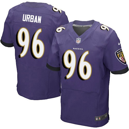 Men's Brent Urban Purple Home Elite Football Jersey: Baltimore Ravens #96  Jersey