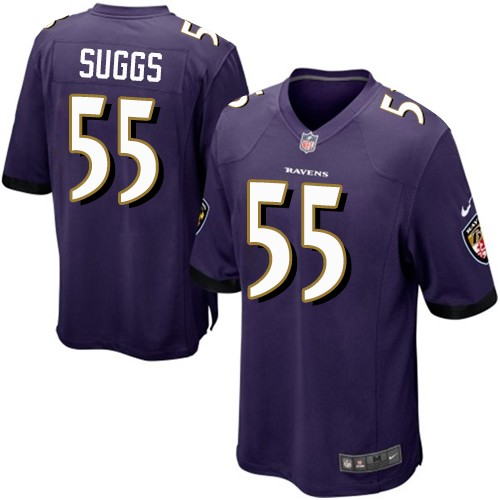 Youth Terrell Suggs Purple Home Game Football Jersey: Baltimore Ravens #55  Jersey