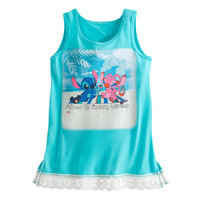 Stitch and Angel Lace-Trimmed Tank Tee for Girls - Walt Disney World