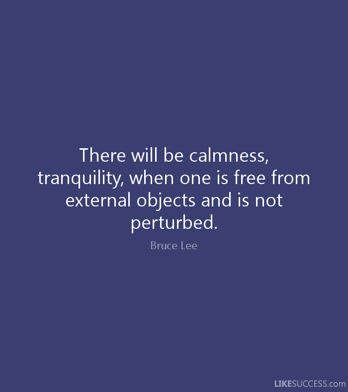 There will be calmness, tranquility, when one is free from external objects and is not perturbed. - Bruce Lee