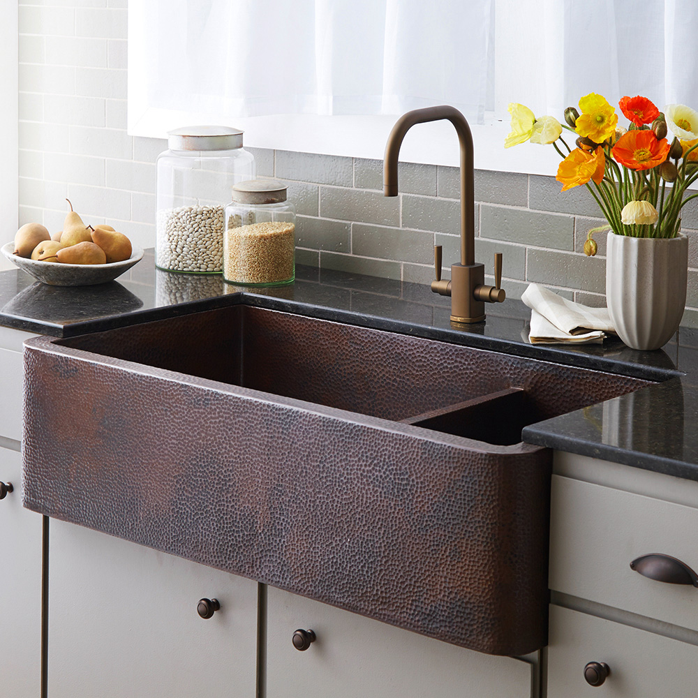 Image of: Farmhouse Copper Kitchen Sinks