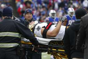 New Orleans Saints running back Daniel Lasco (36) is carted off the field during the first half of an NFL football game against the Buffalo Bills Sunday, Nov. 12, 2017, in Orchard Park, N.Y. (AP Photo/Jeffrey T. Barnes)