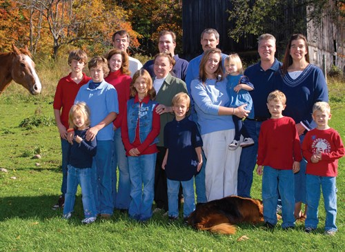 Mildred and most of her family on the family farm.