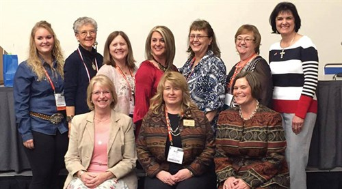 The 2016 American National CattleWomen executive team was installed during the Cattle Industry Convention in San Diego. Front row, left to right: President Elect Penny Zimmerman (MN), President Ann Nogan (PA), Vice President Gwen Geis (WY). Back row, left to right: Collegiate Board of Director Member at Large Lettie McKinney (OK), Past President Melanie Fowle (CA), Region V Director Jeannie Kiehn (WA), Board of Directors Chair Evelyn Brown (AL), Region VII Director Sharon Kickertz-Gerbig (ND), Parliamentarian Susie Magnuson (CO) and Secretary Sheila Bowen (CA).