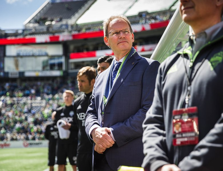 Coach Brian Schmetzer takes in the scene during pregame festivities at CenturyLink Field.  Toronto FC played the Seattle Sounders in a rematch of last year's MLS Cup Championship Saturday, May 6, 2017 at CenturyLink Field in Seattle.  (Dean Rutz / The Seattle Times)