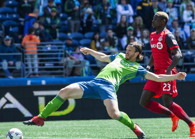 Gustav Svensson is caught offsides, negating a potential goal in the 6th minute.   Toronto FC played the Seattle Sounders in a rematch of last year's MLS Cup Championship Saturday, May 6, 2017 at CenturyLink Field in Seattle.  (Dean Rutz / The Seattle Times)