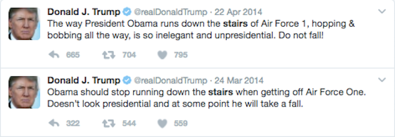 trump afraid of stairs