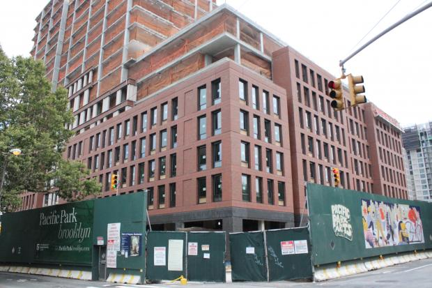 The 18-story affordable apartment building at 535 Carlton Ave. is still under construction in Prospect Heights.