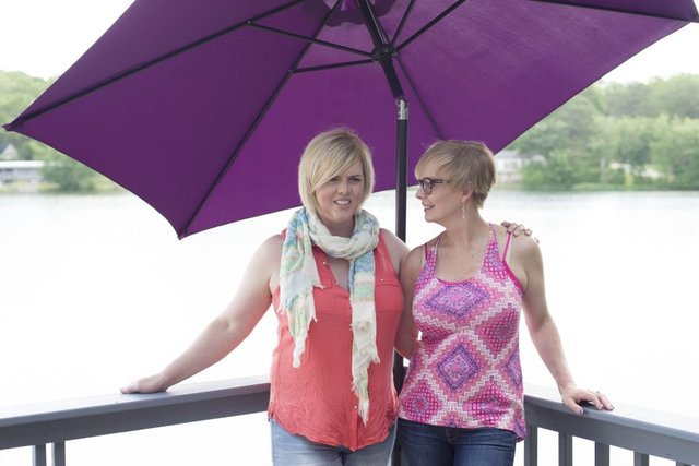 <p>photos by SAUL YOUNG/NEWS SENTINEL</p><p>Married couple Carla Lewis, left, and Jaime Combs are pictured at Lake in the Sky at the Top of the World community in Blount County.</p>