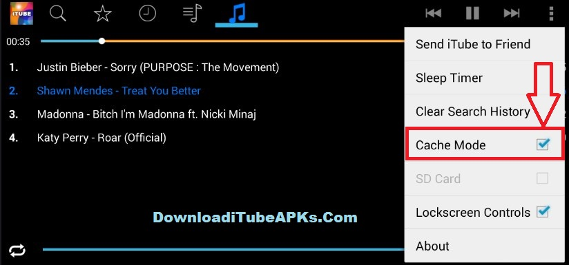 MP3 Music save from iTube cache mode