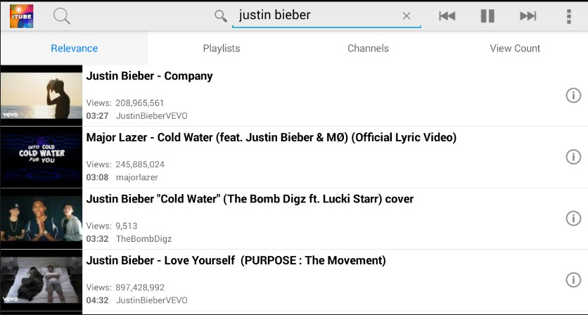 Youtube search results on iTube app
