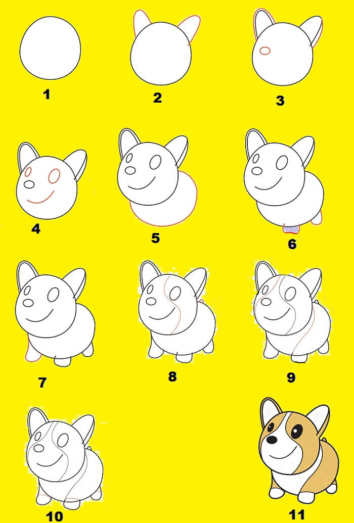 easy step by step drawing of a cute puppy
