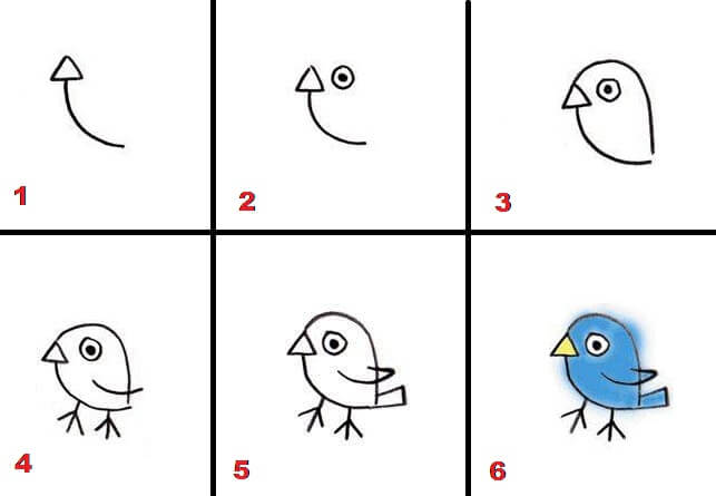 Easy Step by Step Drawings of a Bird