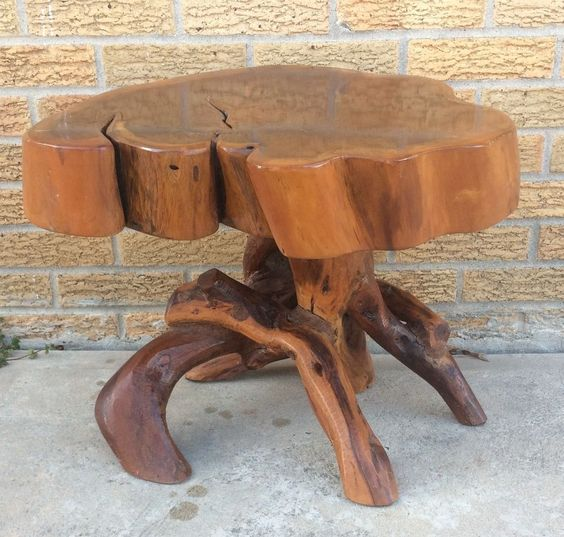 3 tree trunk coffee table