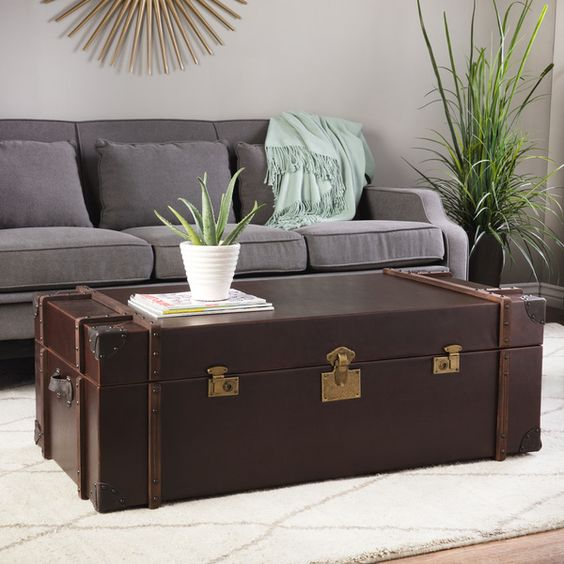 3 leather trunk coffee table