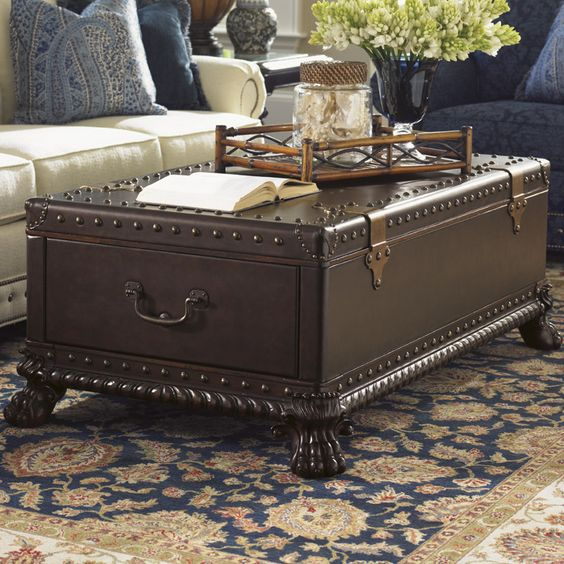 5 leather trunk coffee table
