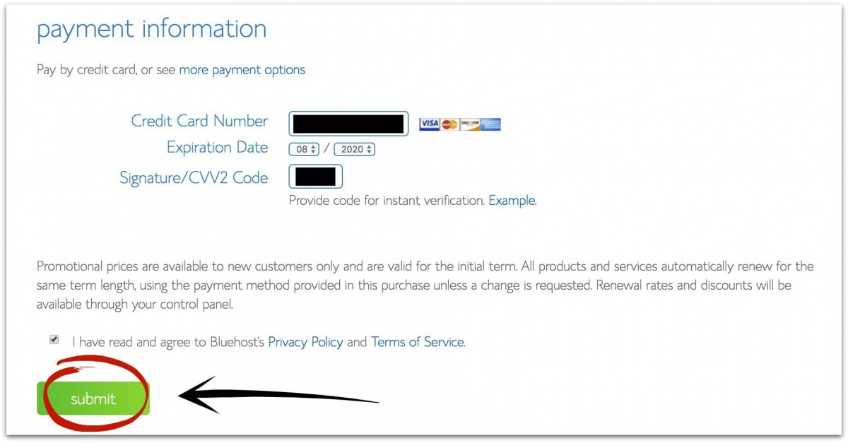bluehost payment information for starting a blog