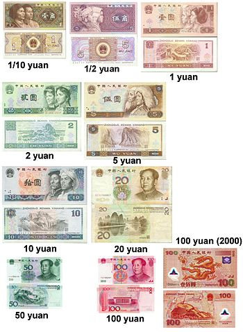 Collection of Chinese renminbi yuan banknotes....