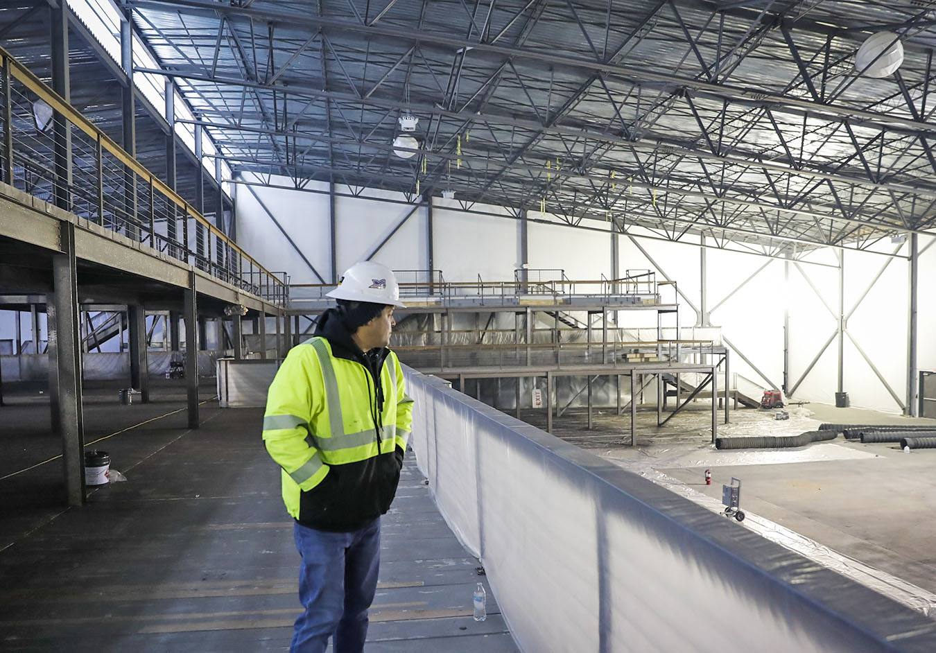 Construction crews were nearing completion of the Club Nomadic venue at Mystic Lake. / Renee Jones Schneider, Star Tribune