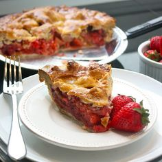 Strawberry rhubarb pie - the perfect end to a picnic, barbeque, or summer cookout