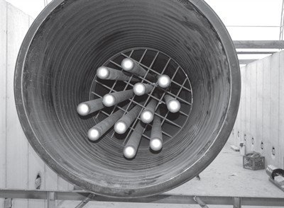 6-inch piece of drainage pipe at the isobar array, the fundamental component of the thermal heat recovery system.